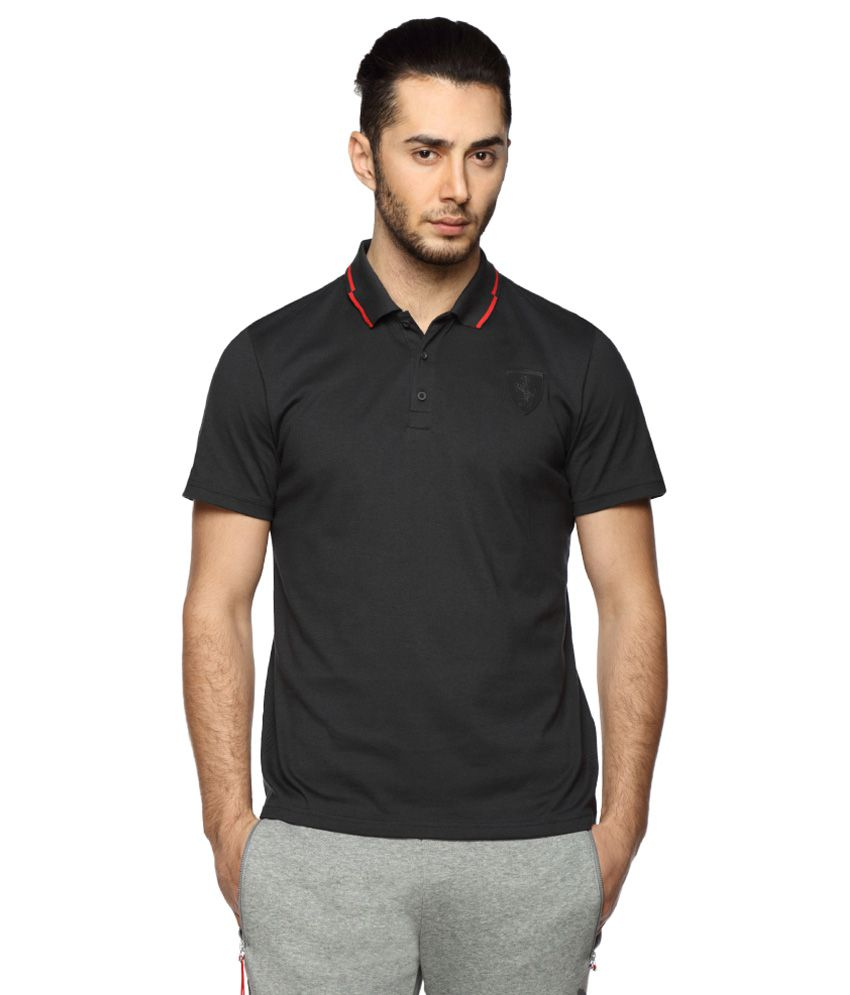 Puma Black Half Sleeves Polo T-Shirt