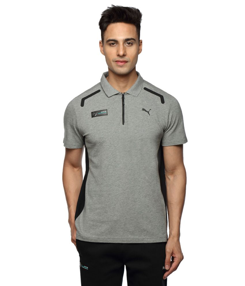 Puma Grey Half Sleeves Polo T-Shirt