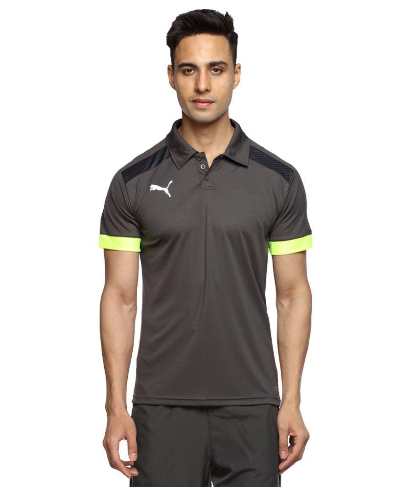 Puma Grey Half Sleeves Polo T-Shirt