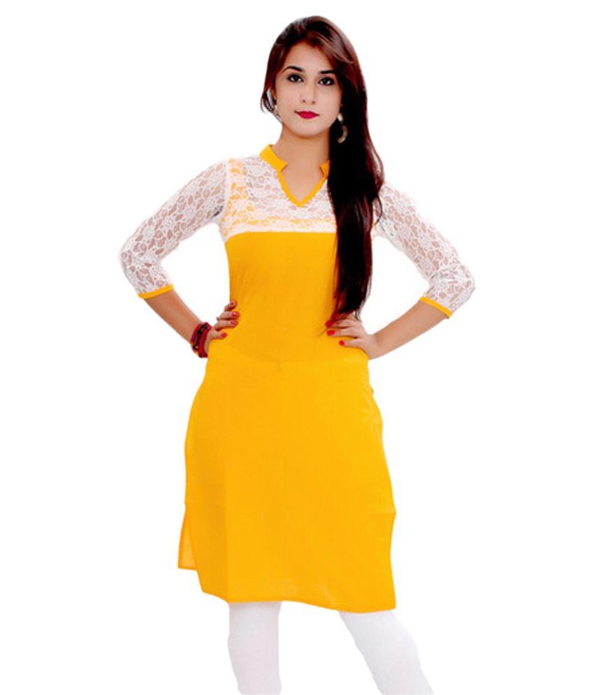 Hi Fi Deal Yellow Cotton Straight Self print Kurti