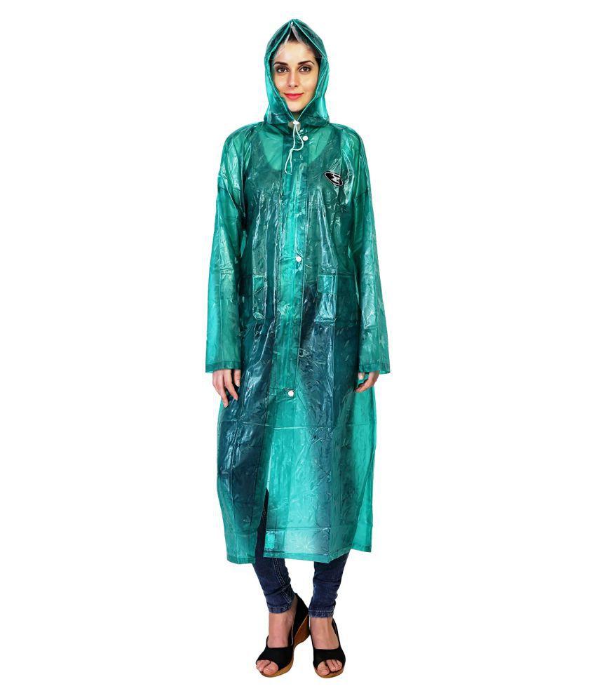 Zeel Green Polyester Long Raincoat