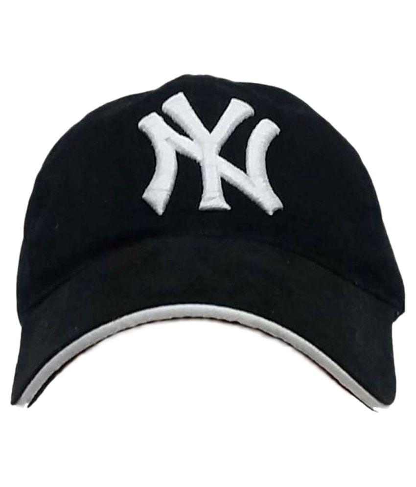 Babji Black Embroidered Cotton Caps