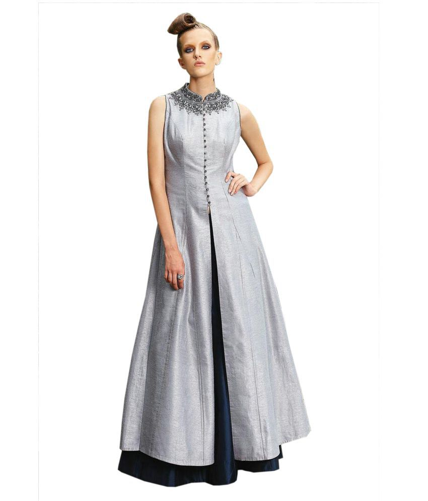 485eacadff Greenvilla Designs Silver Silk Gown - Buy Greenvilla Designs Silver Silk  Gown Online at Best Prices in India on Snapdeal