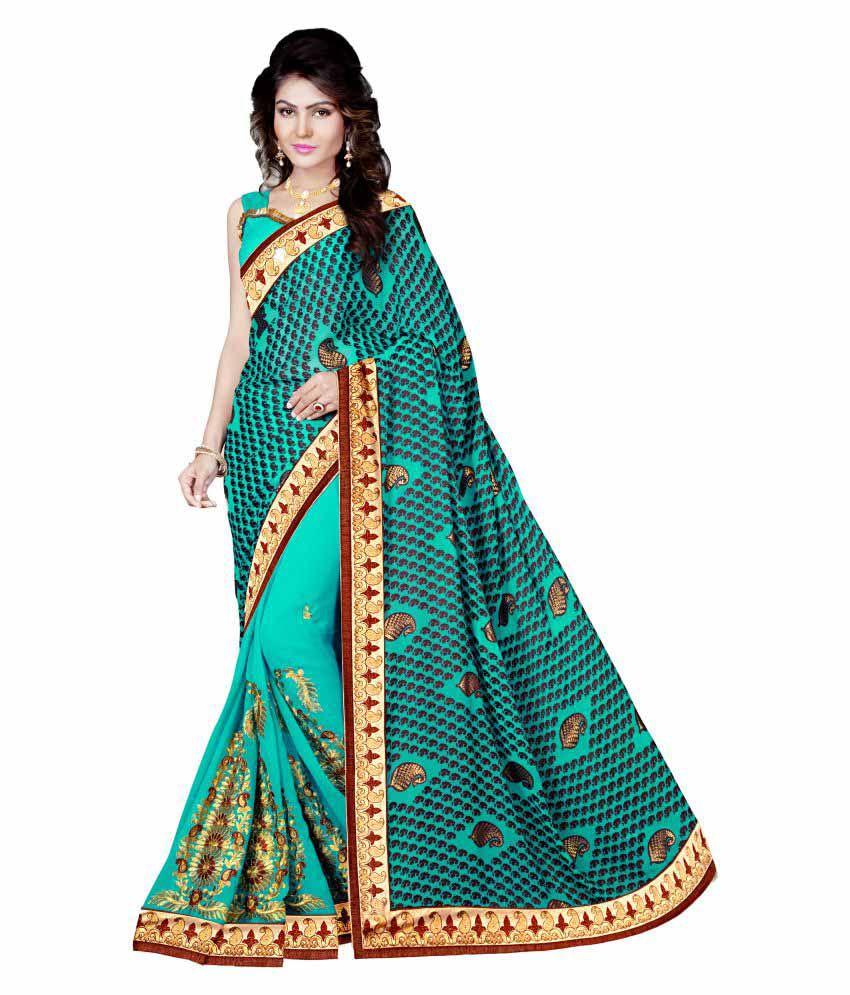 M.S.Retail Turquoise Chiffon Saree