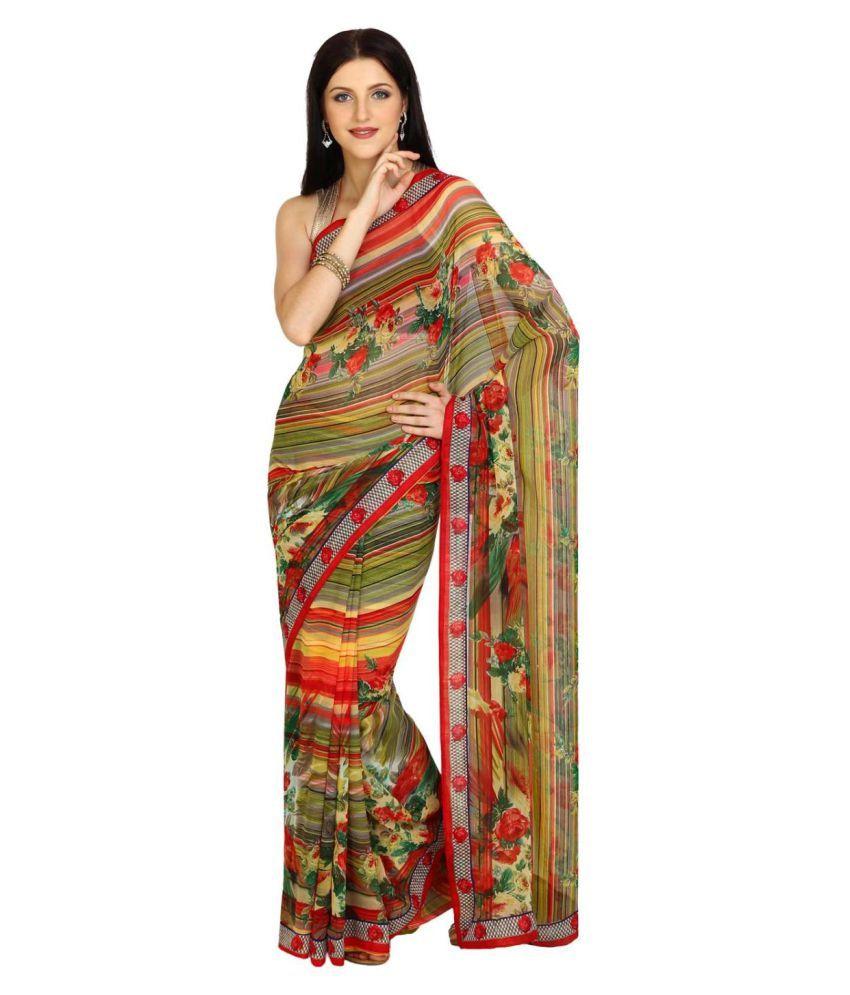Satrang Multicoloured Chiffon Saree