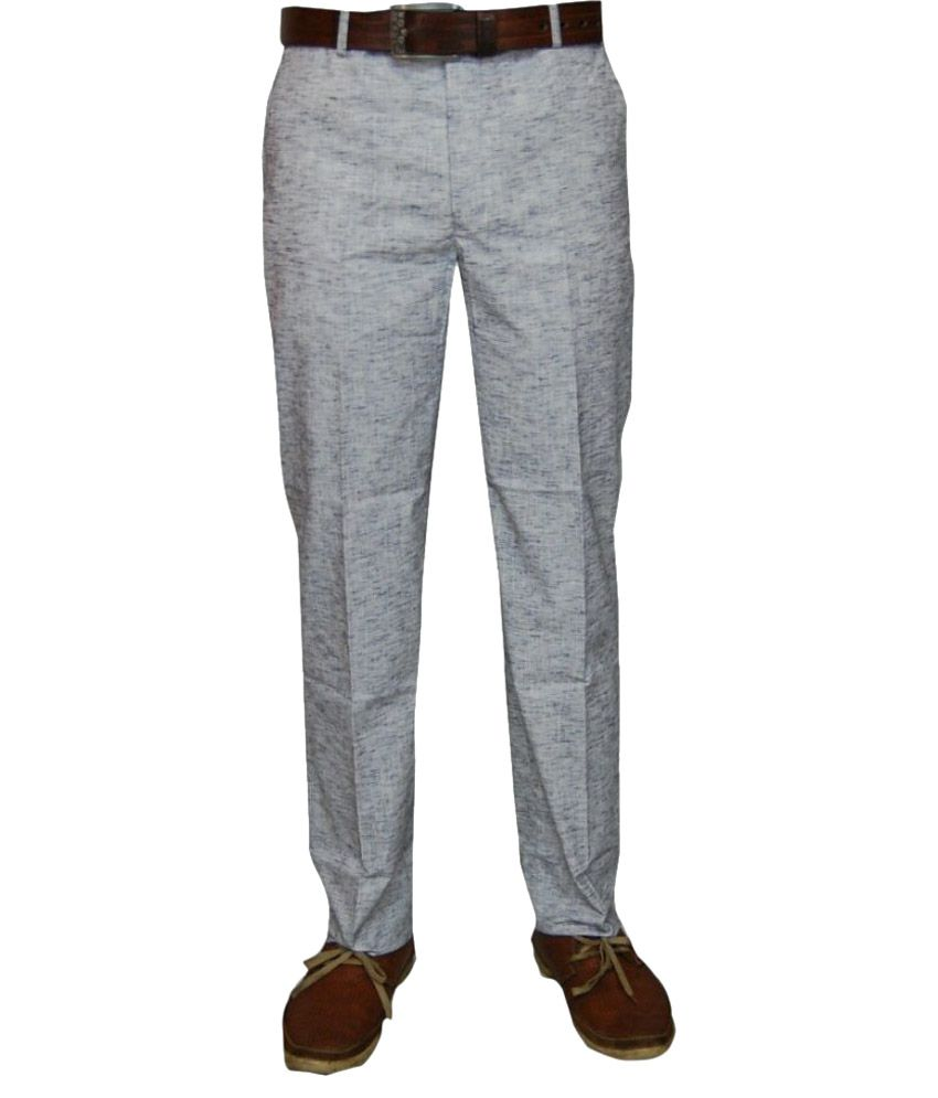 Le Meiux Grey Regular Flat Trouser