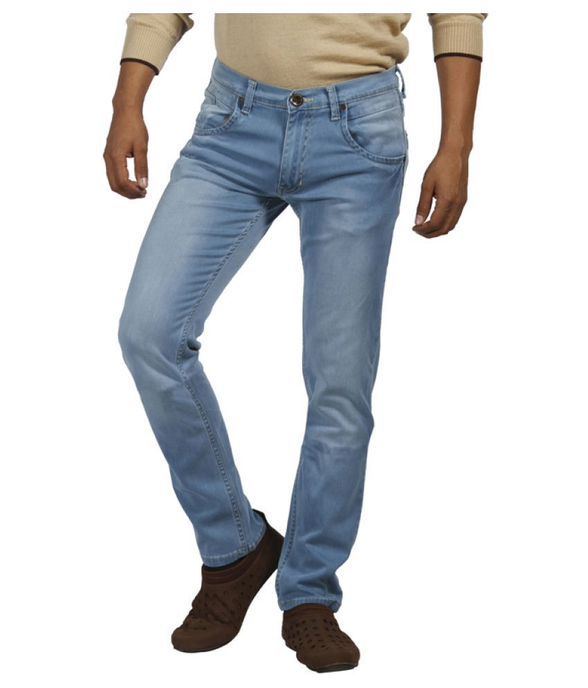 Park Avenue Blue Straight Solid Jeans