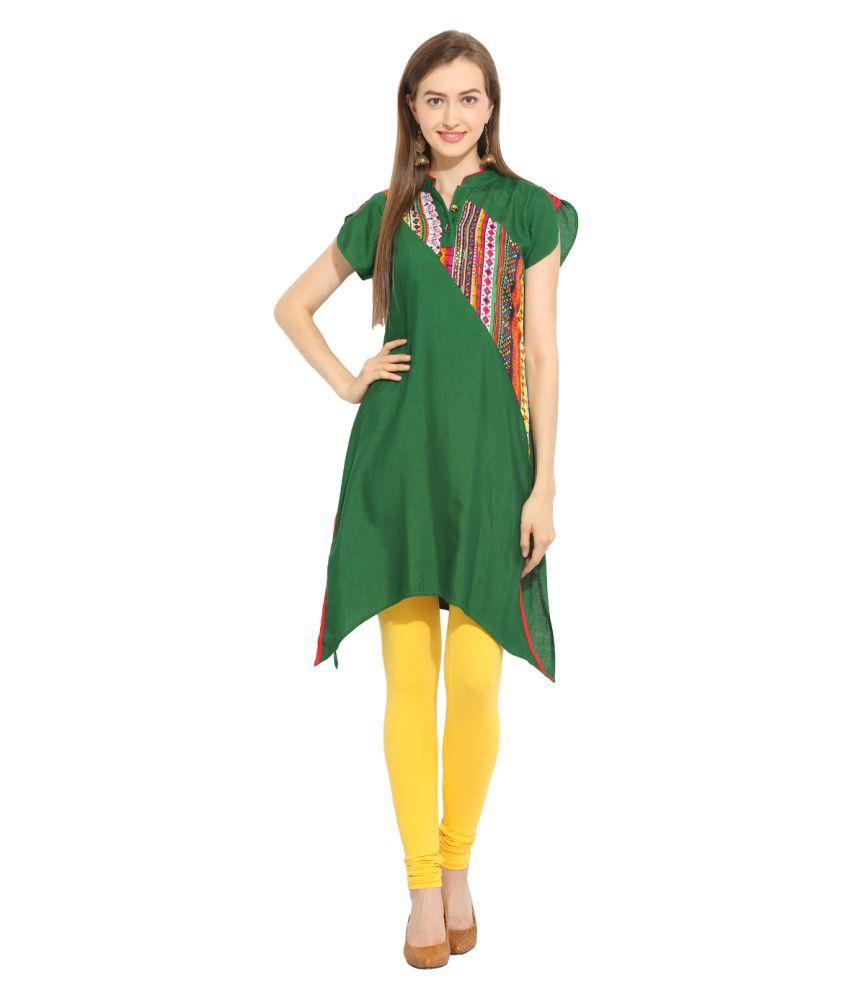 Fashion Eva Green Rayon Asymetrical Hemline Nowari Kurti