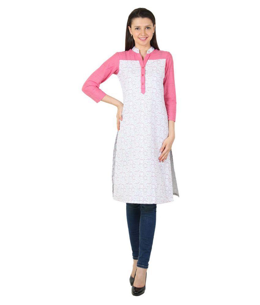 Harshaya G Multicoloured Cotton Straight Patch work Kurti