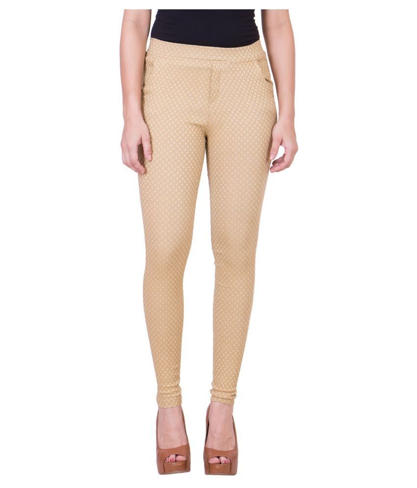 99Hunts Beige Cotton Lycra Jeggings