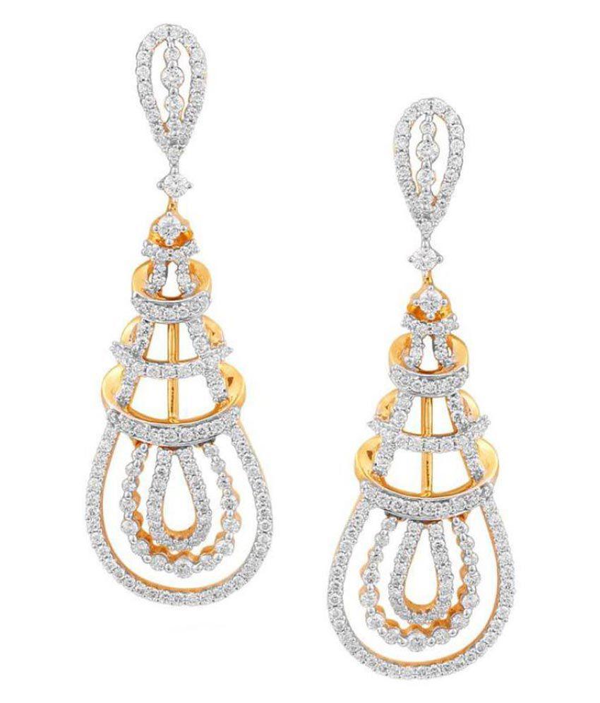 Sangini 18k BIS Hallmarked Yellow Gold Diamond Hangings