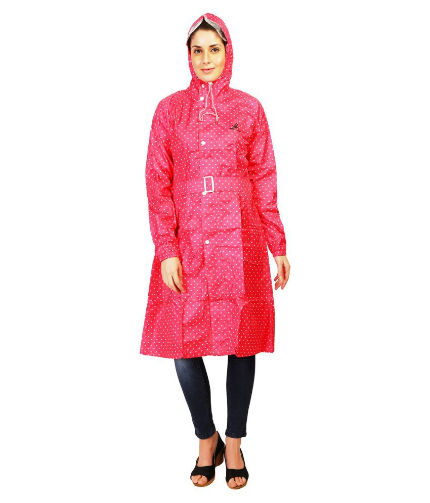 Zeel Pink Polyester Long Raincoat