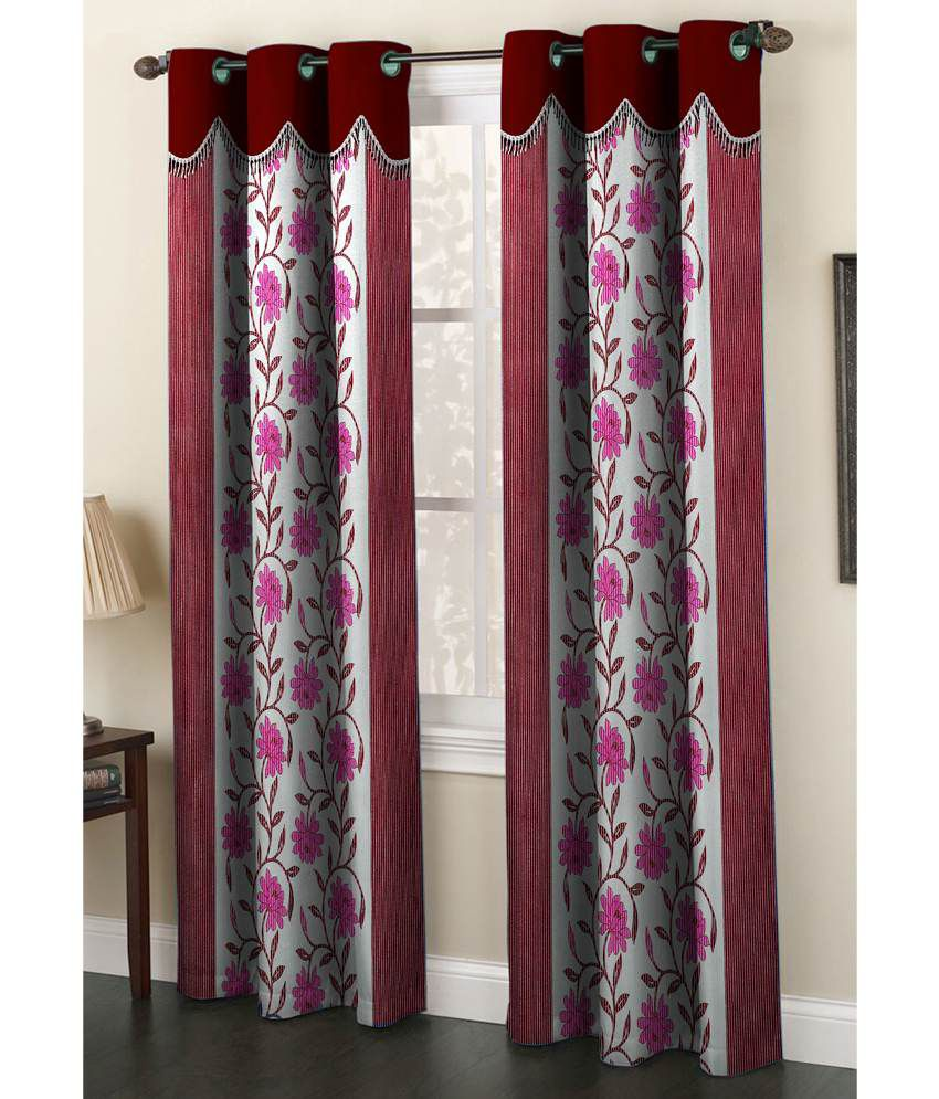 Homefab India Single Window Eyelet Curtain Floral Multi