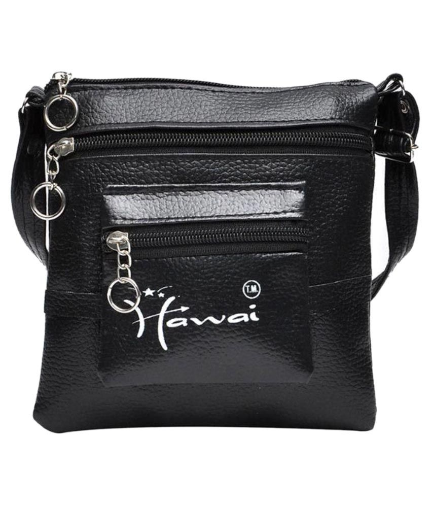 Hawai Black Faux Leather Sling Bag - Buy Hawai Black Faux Leather ...