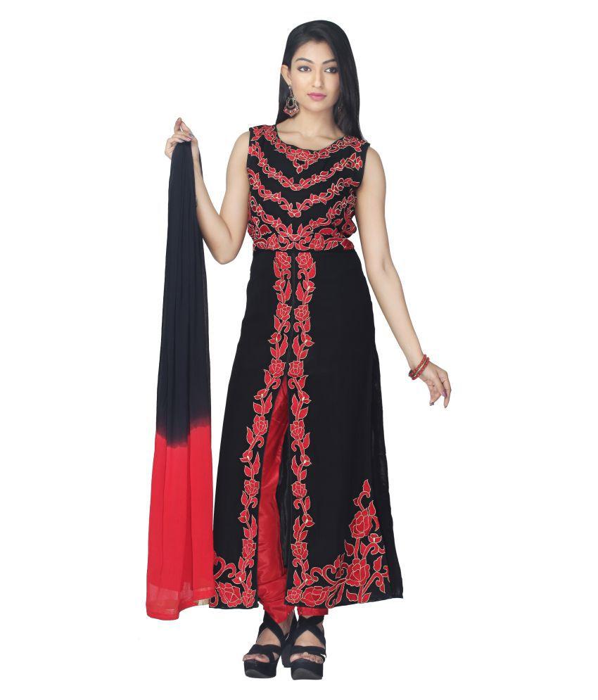 Shree Shakti Creation Black Georgette Straight Stitched Suit