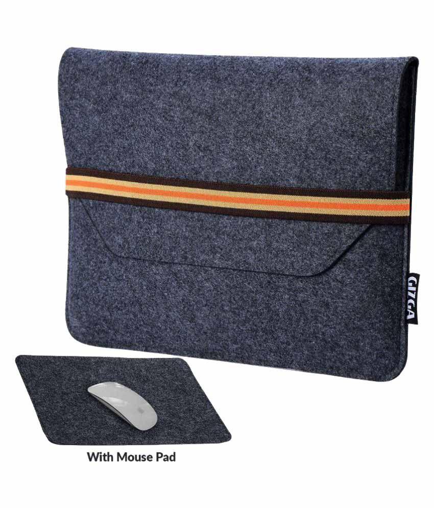Gizga 15.6 inch Protective Felt Laptop Sleeve + Mouse Pad (Slate Grey)