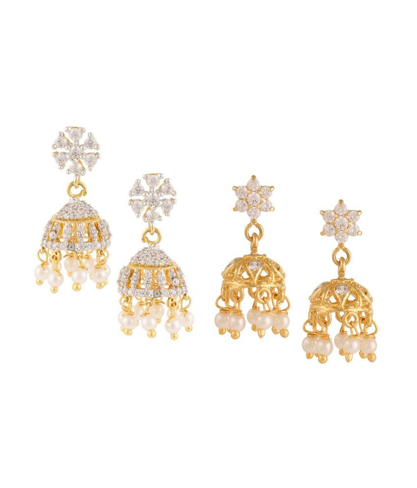 Archi Collection Multicolour Jhumki Earrings - Pack of 2