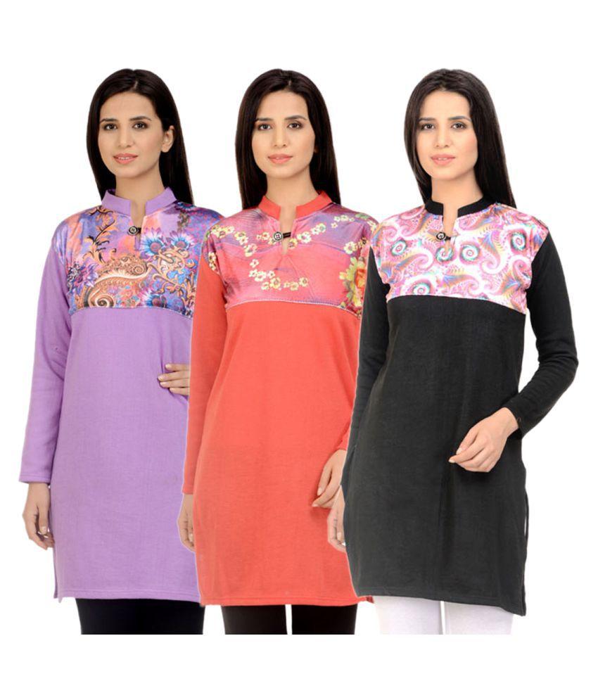 Kritika World Multicoloured Woollen Straight Self print Kurti