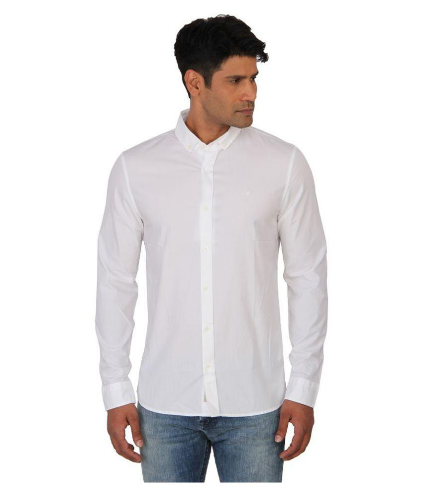 Calvin Klein White Casuals Regular Fit Shirt