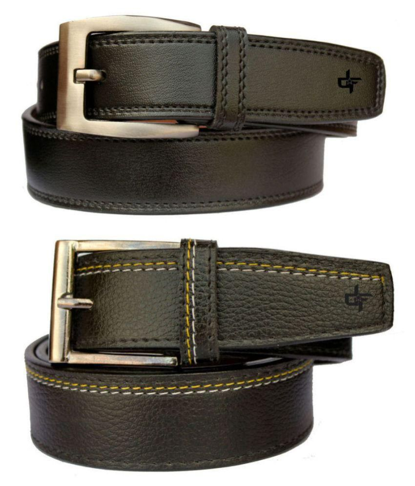 Discover Fashion Black PU Formal Belt for Men - Pack of 2