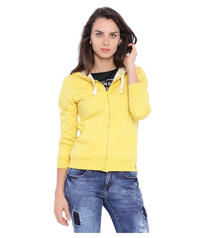 Campus Sutra Yellow Cotton Zippered