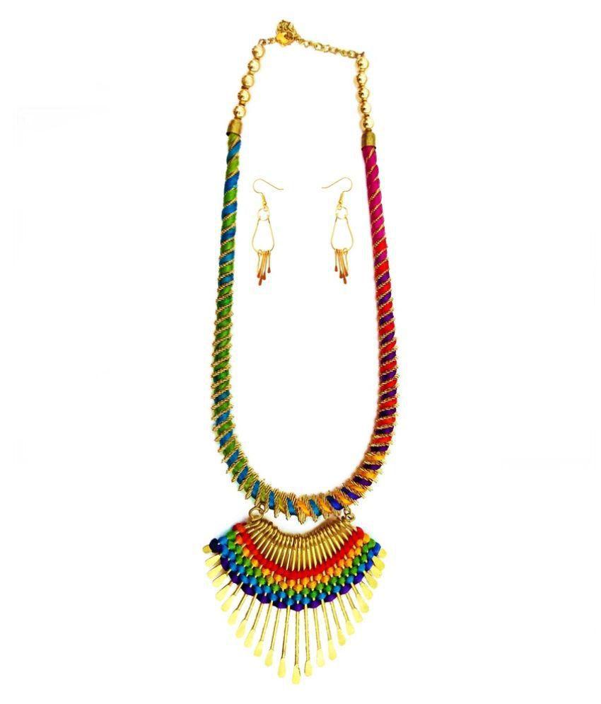 6ae7359669 Abhimantrit Silk Thread Necklace Earrings Jewellery Sets - Buy Abhimantrit  Silk Thread Necklace Earrings Jewellery Sets Online at Best Prices in India  on ...