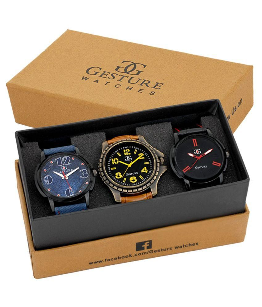 Gesture Multicolor Analog Watches - Pack of 3