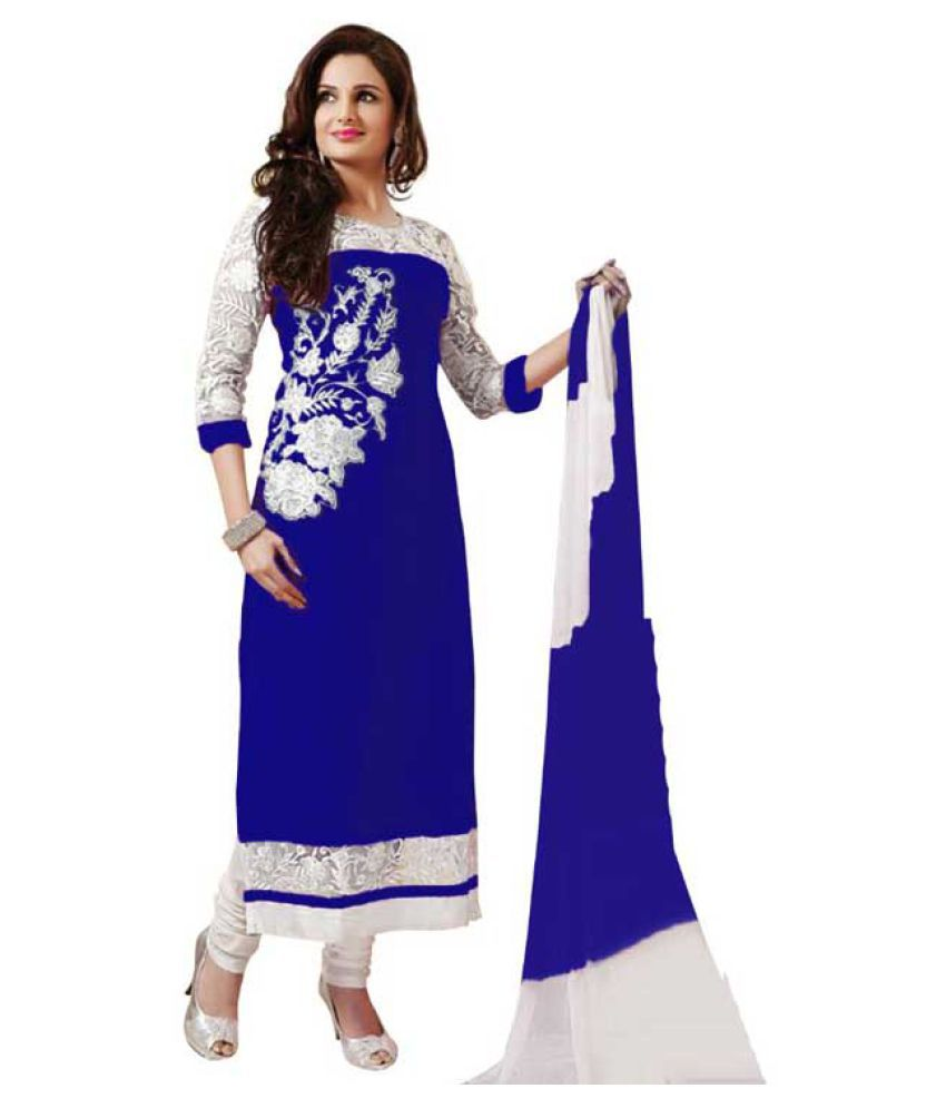Anarkali Salwar Suits Blue Georgette Dress Material