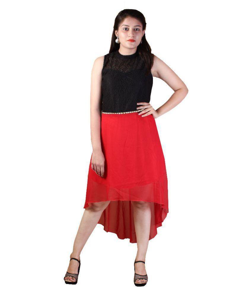 d'lyric Georgette Multi Color Asymmetric dress