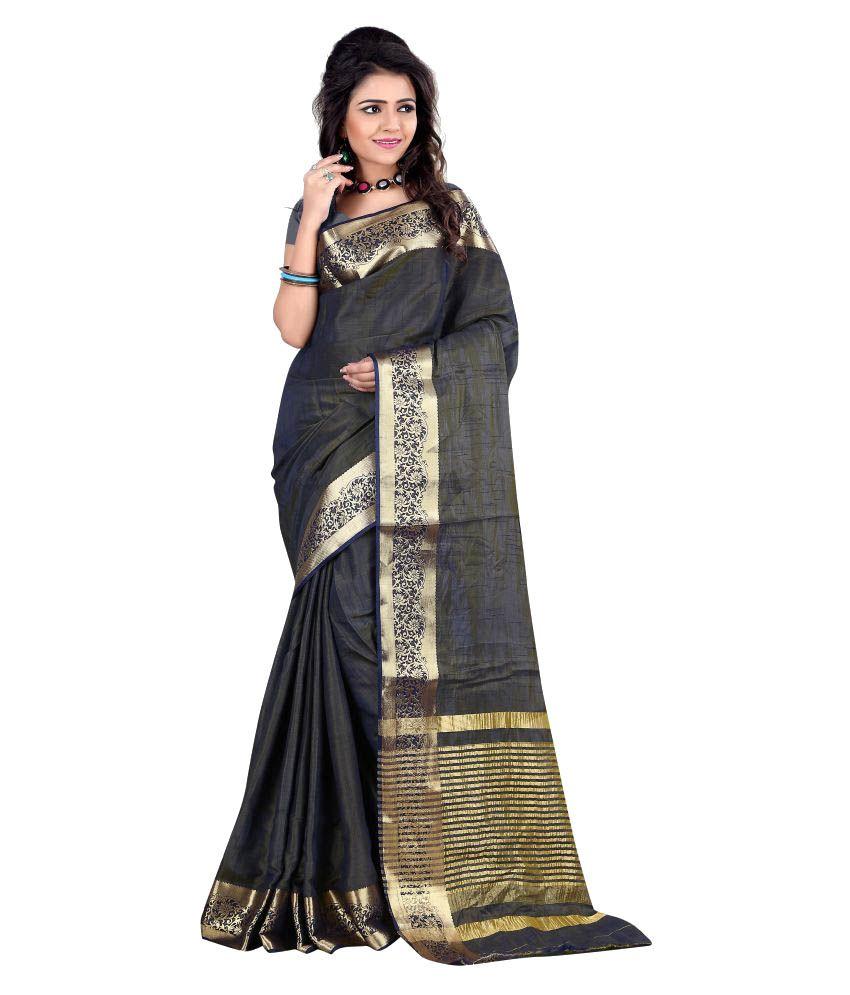 Jay Fashion Grey Cotton Silk Saree