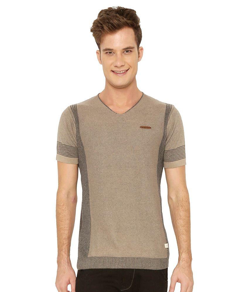 ME mercury  Beige V-Neck T-Shirt