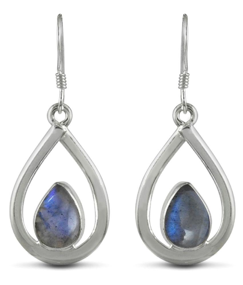 Miska Silver 92.5 Silver Labradorite Drop Earrings
