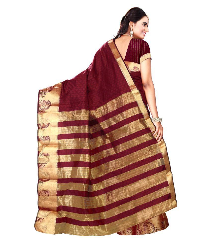 Shopping Point Maroon Banarasi Silk Saree