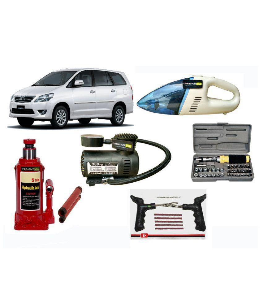 Creativevia Combo Of 3 Ton Car Jack Air Compressor Vacuum Cleaner
