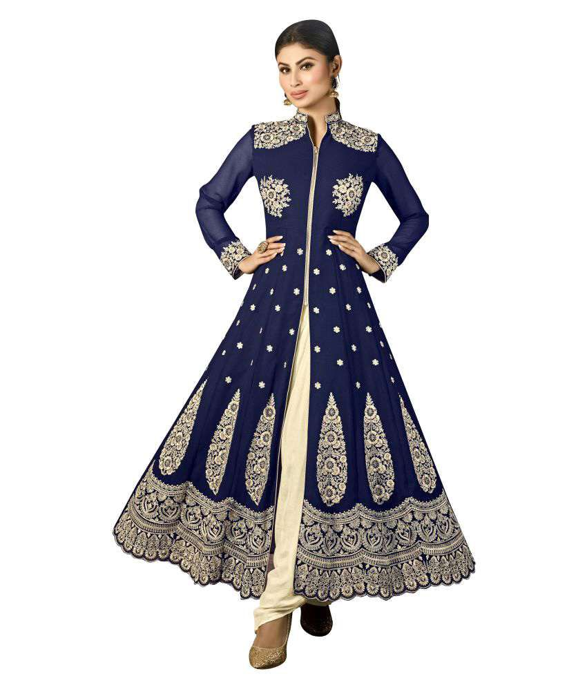 Desi Look Blue Georgette Dress Material