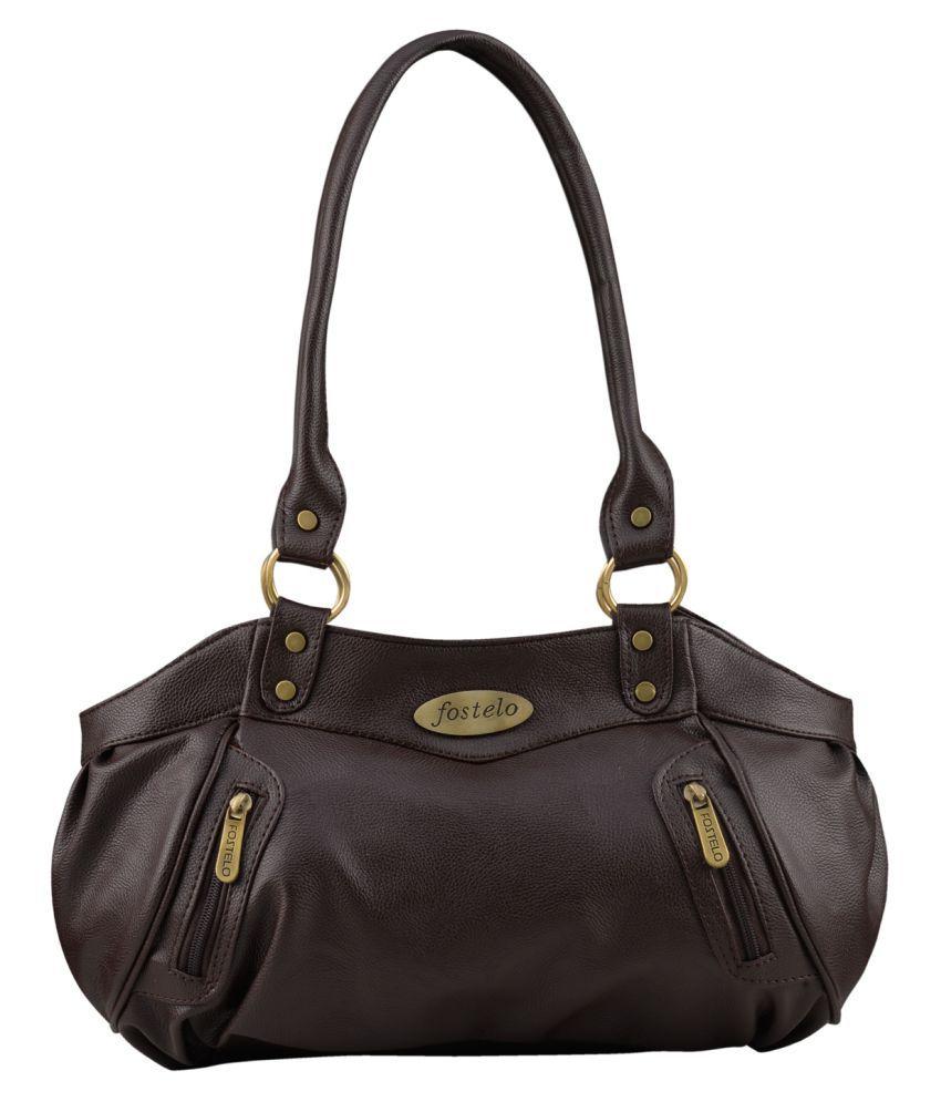 Fostelo Brown Faux Leather Shoulder Bag