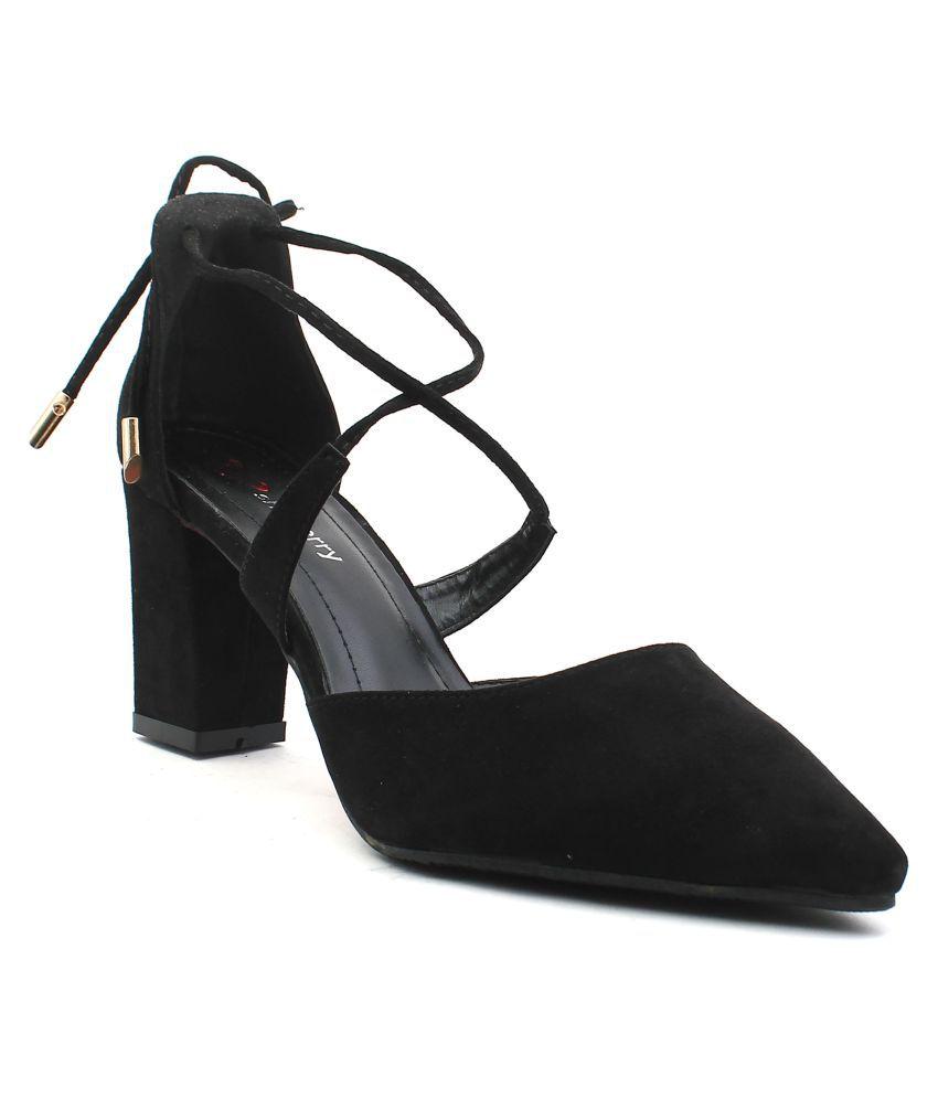 Shuberry Black Block Heels