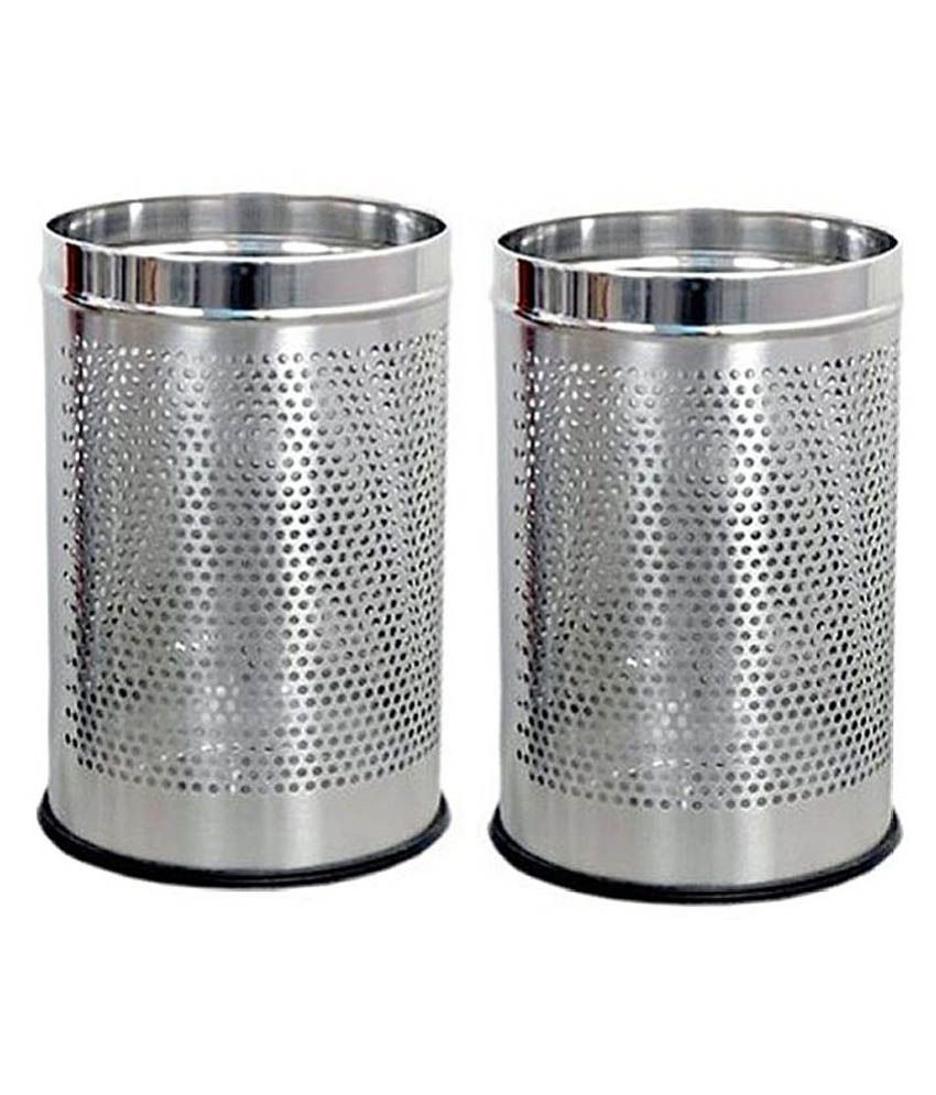 KC Steel Dustbin Round Perforated - Set Of 2 (5 Litres)