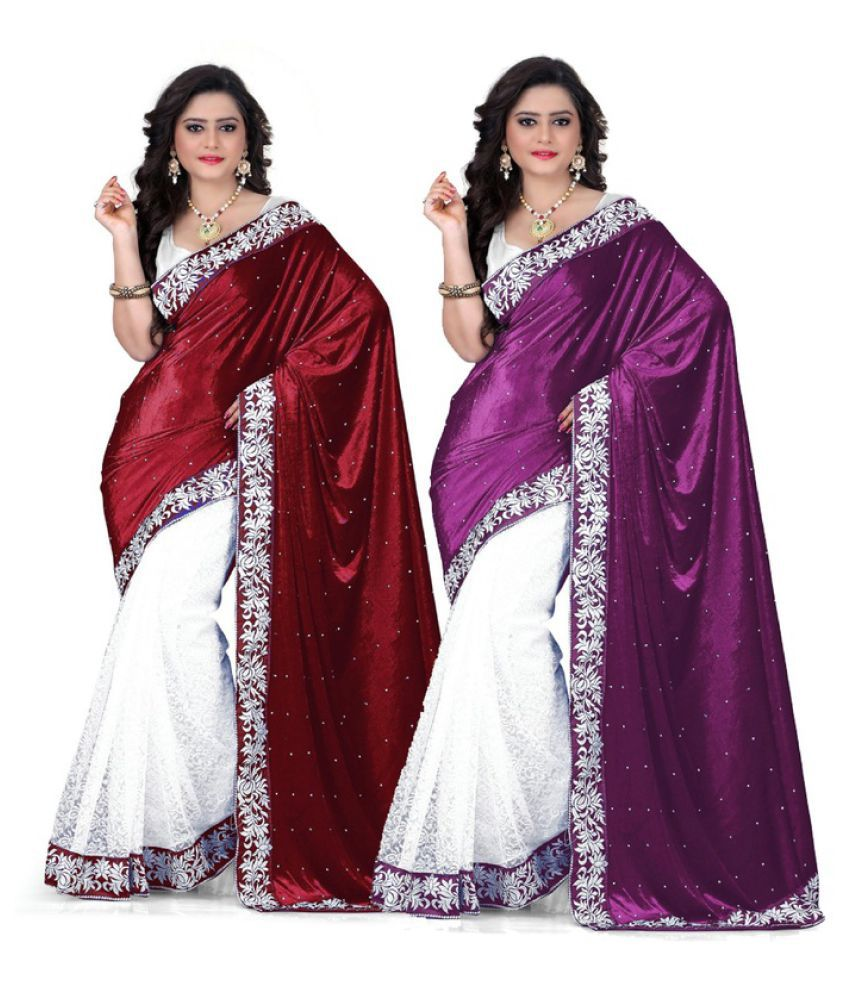 Saree Sansar Multicoloured Velvet Saree Combos