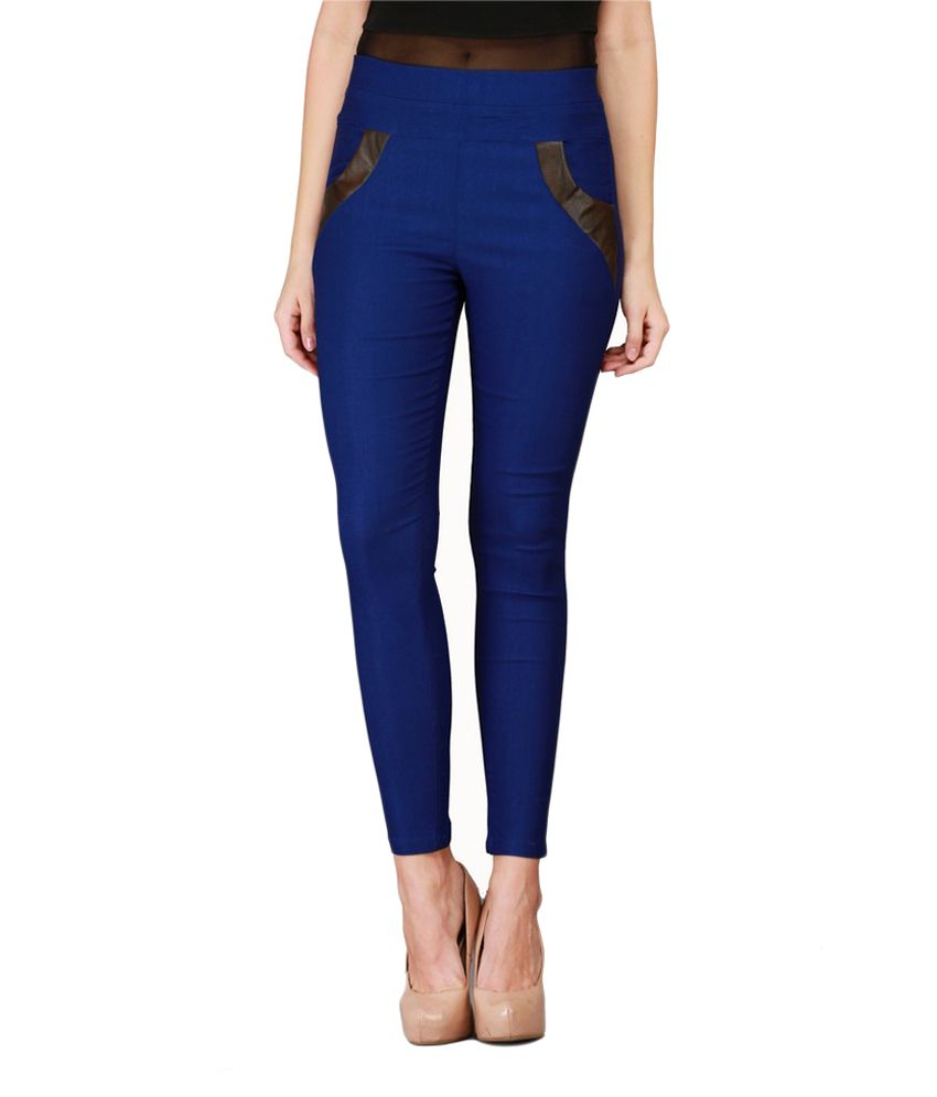 Harshaya G Cotton Lycra Jeggings - Blue