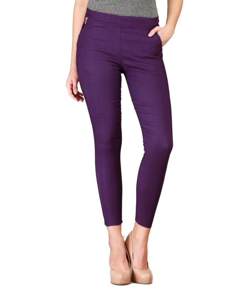Harshaya G Purple Cotton Lycra Jeggings