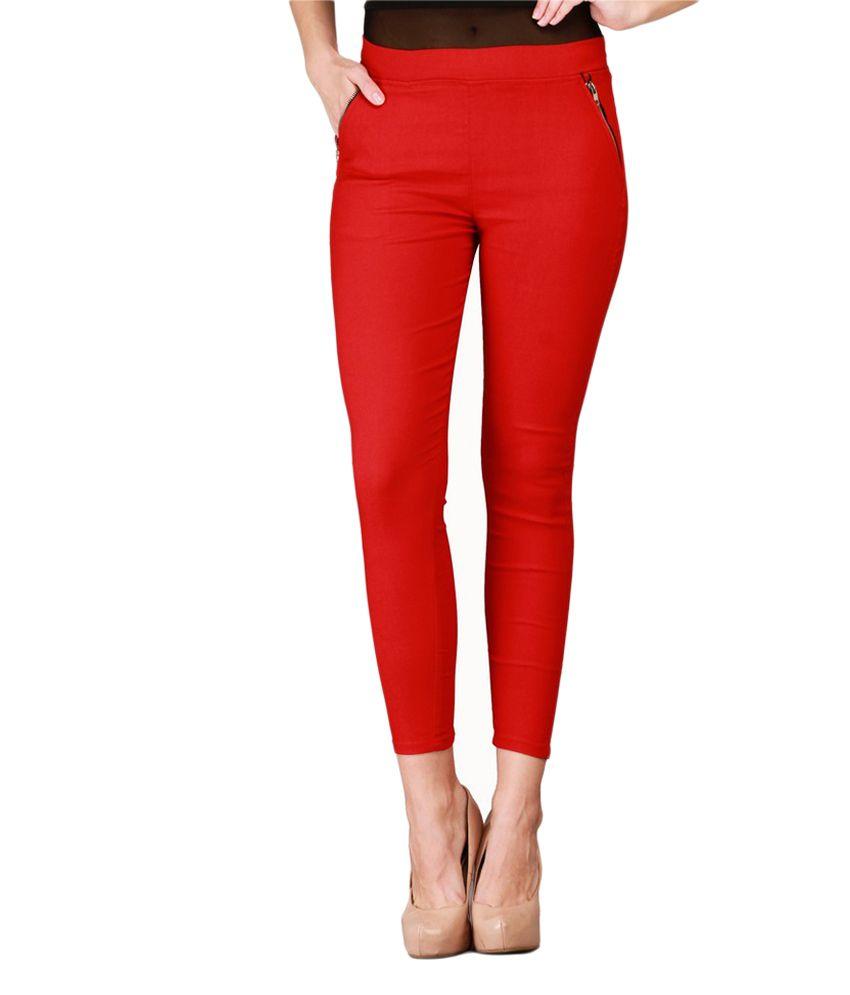 Harshaya G Red Cotton Lycra Jeggings