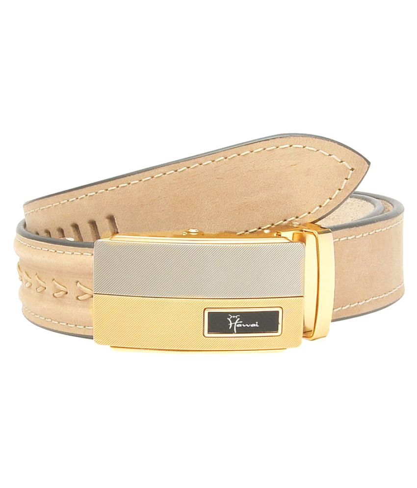 Hawai Beige Leather Casual Belts