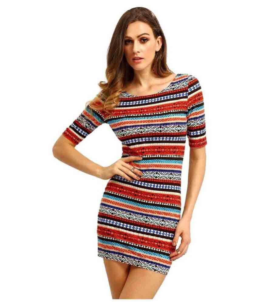 Beyond Chic! Multi Color Polyester Bodycon