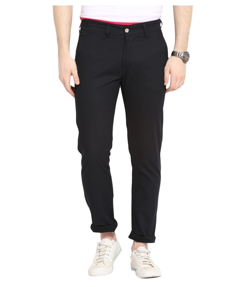 Ennoble Black Slim Flat Trouser