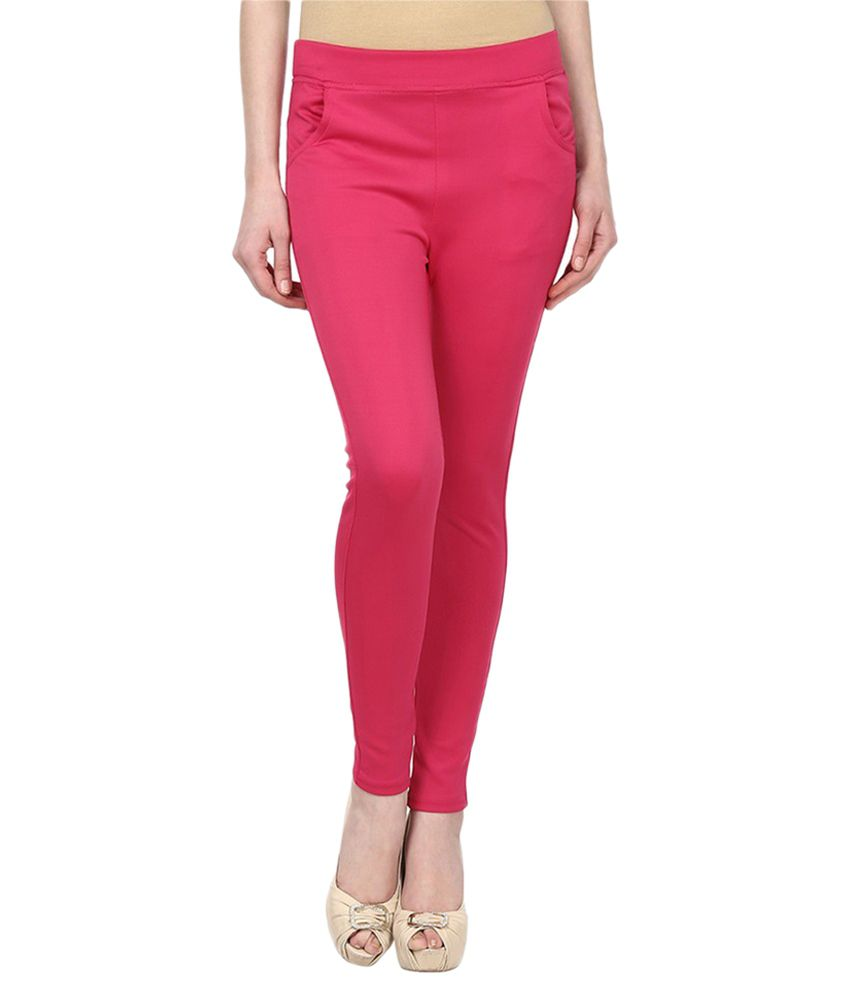 Harshaya G Pink Cotton Lycra Jeggings
