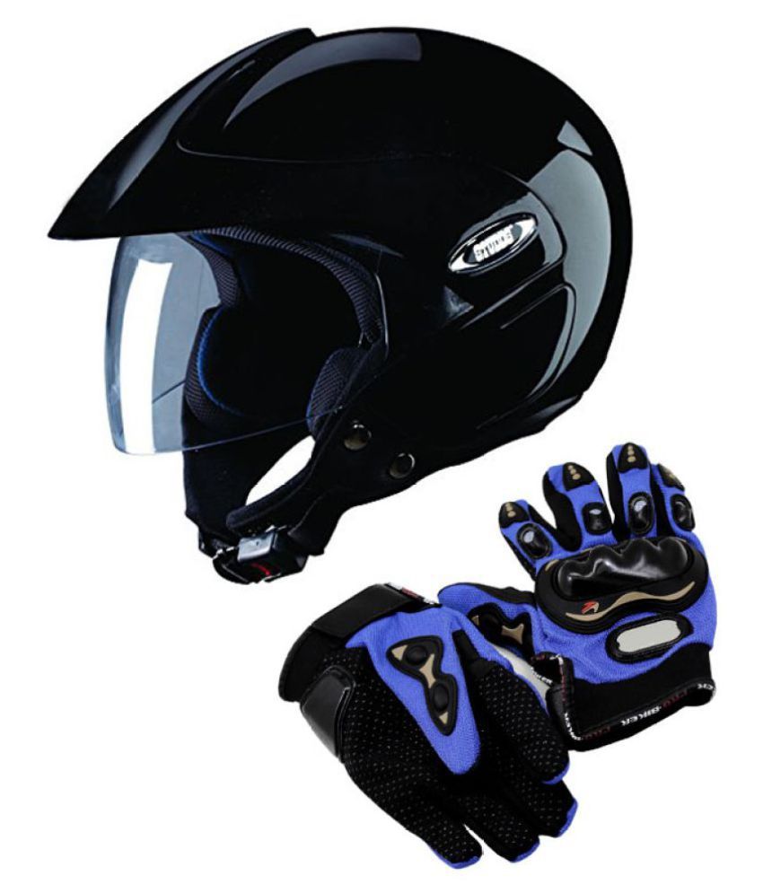 Motorcycle leather gloves india - Studds Marshall Hemlet With Leather Gloves Open Face Helmet Black L