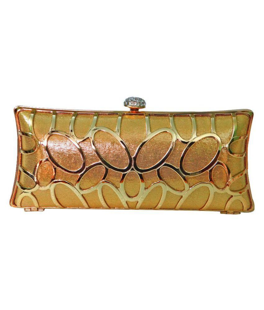 Glamora Gold Faux Leather Box Clutch