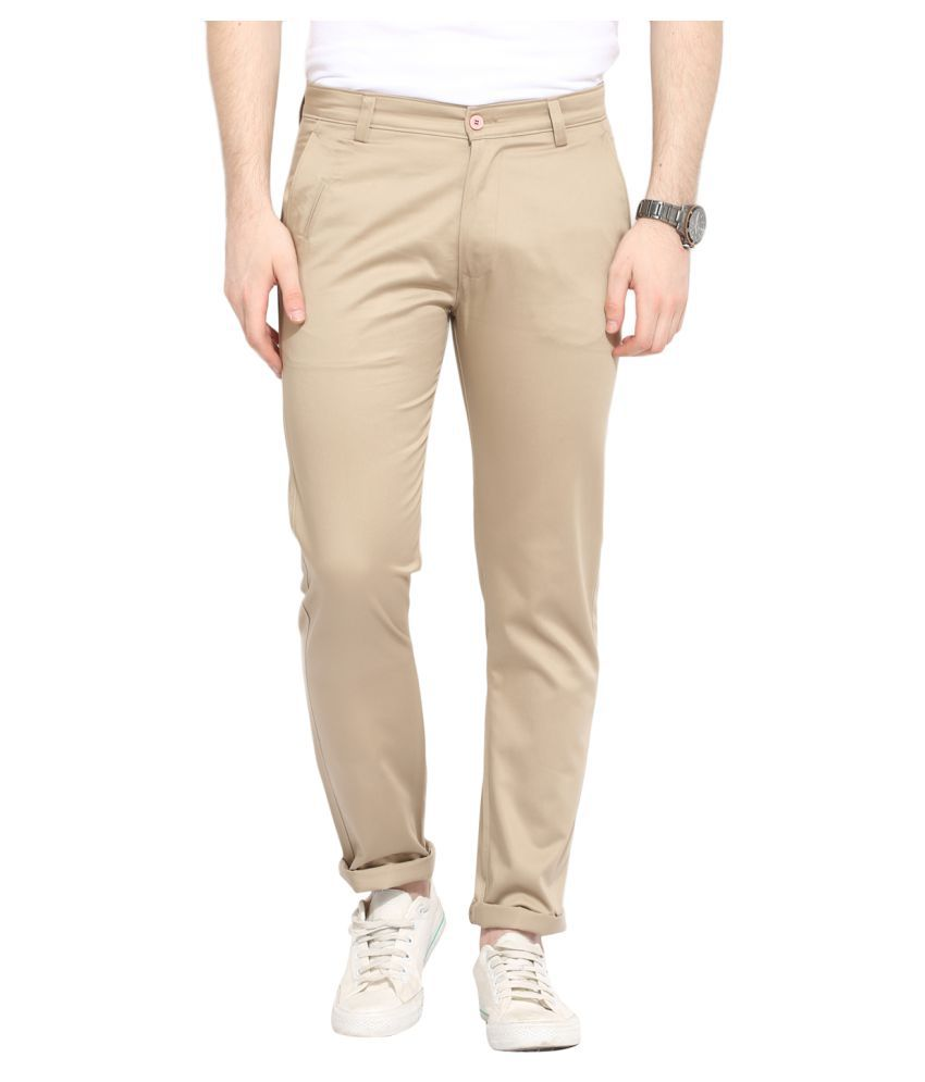 Ennoble Beige Slim Flat Trouser