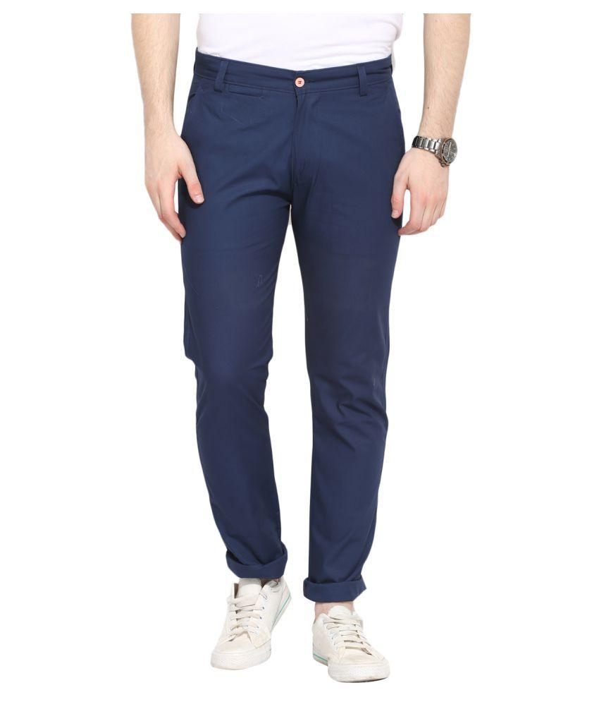 Ennoble Blue Slim Flat Trouser
